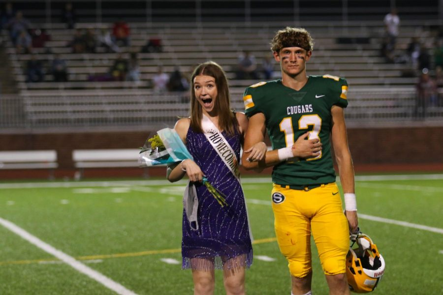 Emma+Smith+was+announced+the+2020+Homecoming+queen+at+the+home+football+game+on+Sept.+18.+Her+escort+was+senior+Colin+Schreiber.+