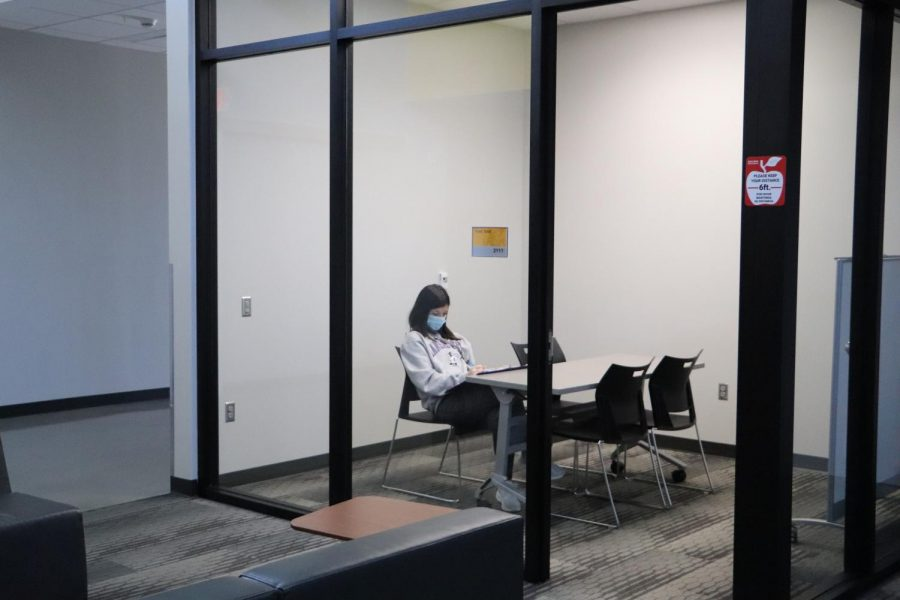Lexi Doherty is studying in the Think Tank, a closed area for quiet studying purposes.